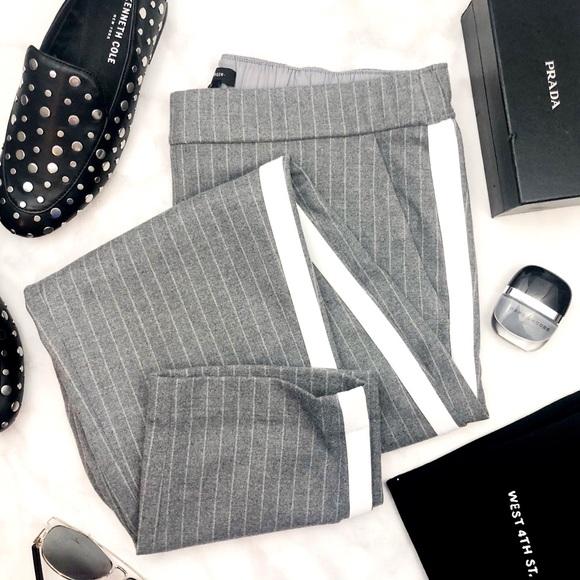 Halogen Pants - Gray Pinstripe Side Stripe Pull On Ankle Pants